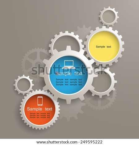 info graphic gears - stock vector