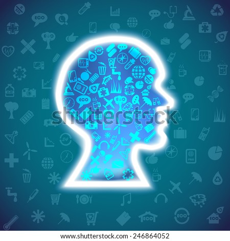 Info-graphic Human head design template.  To use for infographics, the press, presentations. - stock vector