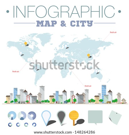 Info graphic map and city - stock vector