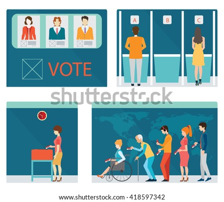 Info graphic of Voting booths with people waiting in line for Voting at Ballot Box, Vote ballot with box,each layers separated easy to use. vector illustration. - stock vector
