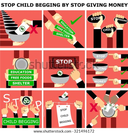 info graphic Stop child begging by stop giving money ,vector set - stock vector