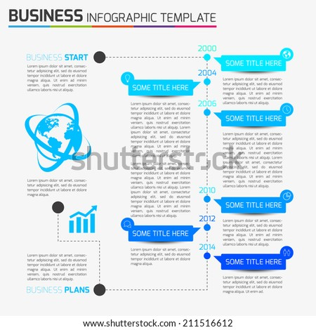 Info graphic time-line template with icons, light background, 6 steps