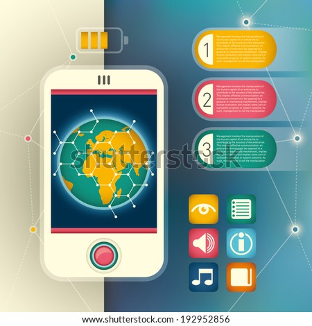 Info graphic with smart phone. Vector illustration. - stock vector