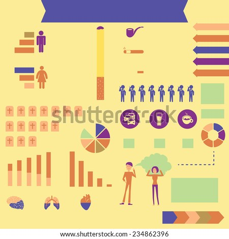 Info graphic world stats of smoke - stock vector