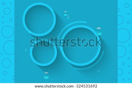 Info graphics abstract blue circles with shadows and water drops - stock vector
