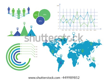 info graphics elements pack, showing different corporate symbols  - stock vector