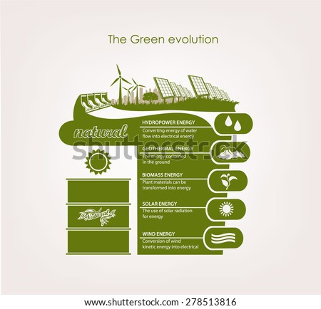 info graphics renewable nature. The concept of ecology earth. - stock vector