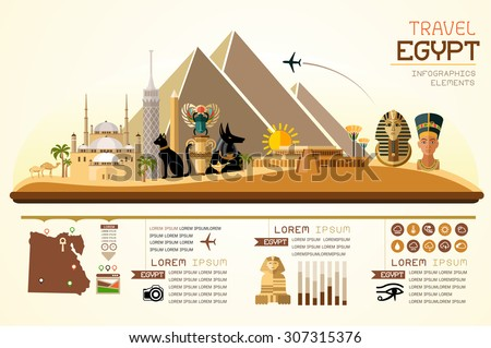 Info graphics travel and landmark egypt template design. Concept Vector Illustration - stock vector