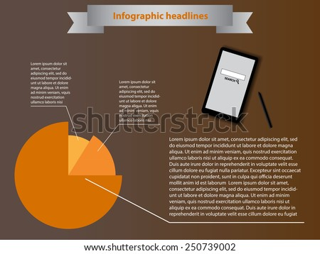 info-graphics with orange diagram and phone - stock vector