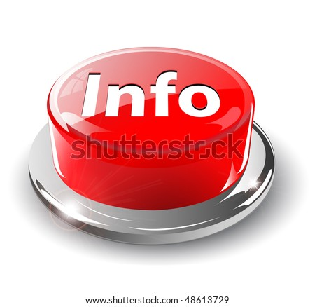 Info, information button, 3d red glossy metallic, vector.