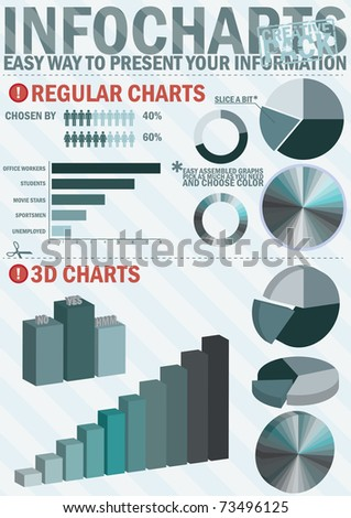 Infochart creative pack.Easy assembling elements for presentation and graph - stock vector