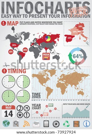 Infochart creative pack. Easy assembling elements for presentation and graph. Including world map, time zones map and set of business related icons - stock vector