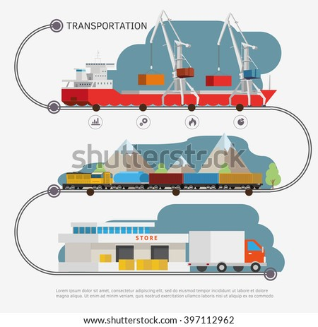 Infoghrphic time line with transport illustration. Transportation by water, by air, by train. Isometry illustration. - stock vector