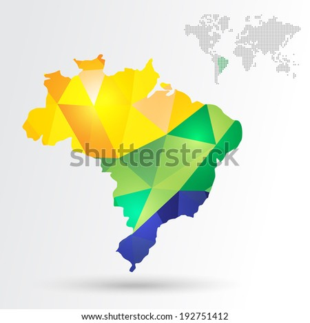 Infographic abstract Brazil map with dotted map world. EPS10 vector with transparency organized in layers for easy editing. - stock vector