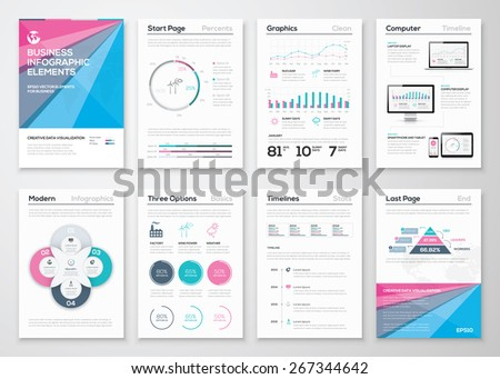 Infographic Business Brochure Templates Data Visualization Stock
