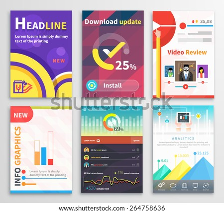 Infographic business brochures banners analitics, strategy. Modern stylized graphics data visualization. Can be used for web banners marketing and promotional materials, flyers, presentation templates - stock vector