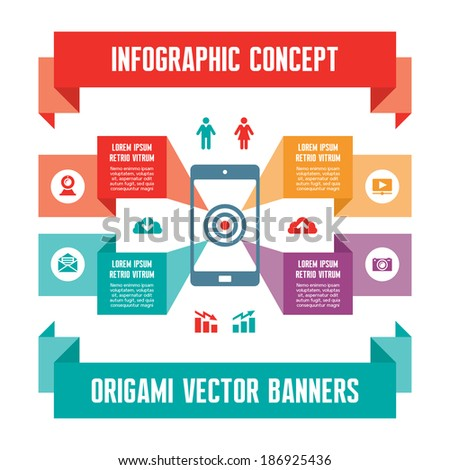 Infographic Business Concept for Presentation - Vector Scheme with Mobile Phone and Icons - stock vector