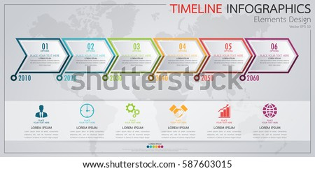 Infographic Business Horizontal Timeline Process Chart Stock - Timeline graphic template