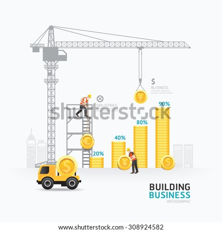 Infographic business money graph template design. building to success concept vector illustration / graphic or web design layout. - stock vector