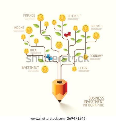 Infographic business pencil tree and coins flat line idea. Vector illustration. finance currency growth concept. can be used for layout, banner and web design. - stock vector