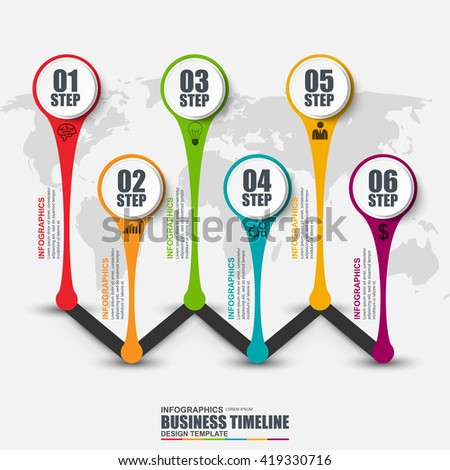 Infographic business timeline vector design template. Can be used for workflow, step to successful, business success, diagram, infographic banner, infographic elements, information infographics. - stock vector