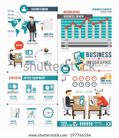 Infographic Business world job template design . concept vector illustration - stock vector