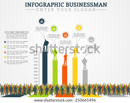 INFOGRAPHIC BUSINESSMAN ANNUAL ECONOMY THIRD EDITION - stock vector