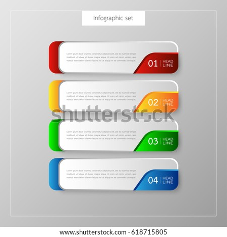 Infographic button template banner set colorful stock for Design a button template free