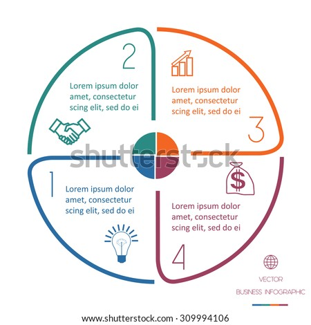 Infographic Ideas infographic lines : Infographic Semicircle Template Colourful Lines Text Stock Vector ...