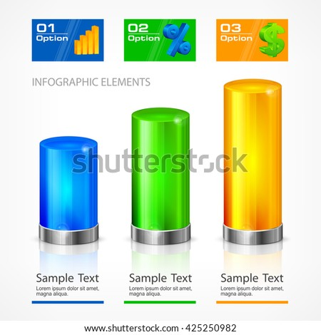 Infographic color chart element text on white vector illustration. Icon for business infographic element. - stock vector