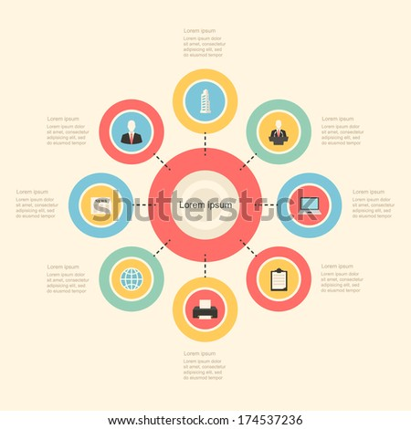 infographic colorful flat design style elements. vector graphic business modern template - stock vector