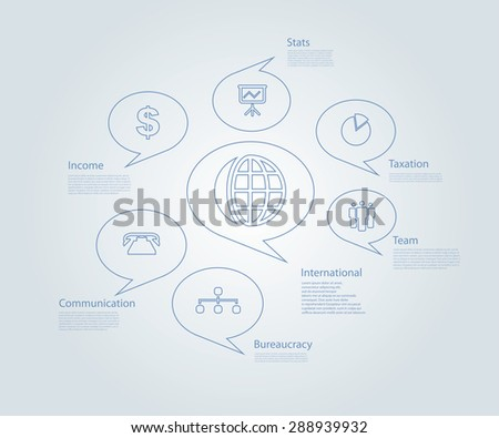 Infographic composition with business icons. - stock vector
