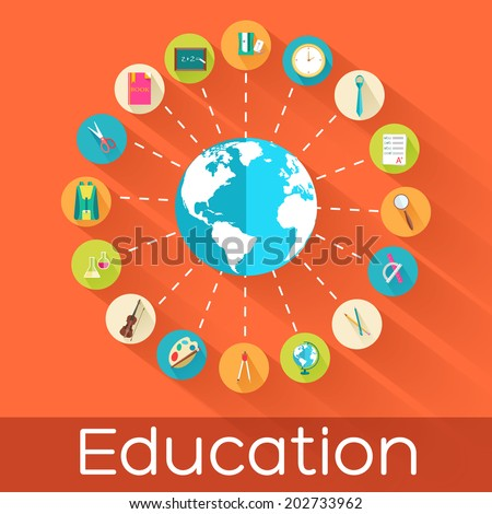 infographic concept of back to school circle flat icons. Vector illustration design - stock vector