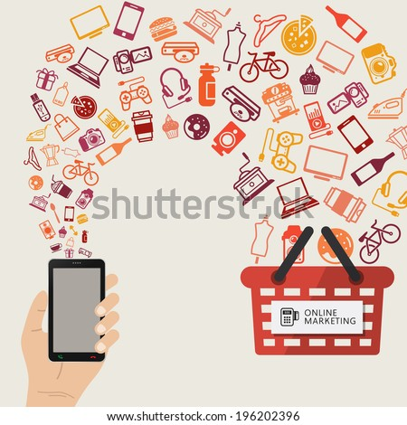 infographic concept of purchasing product via internet, mobile shopping communication and delivery service. Buy Online. - stock vector