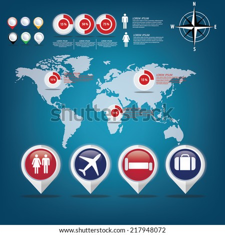 infographic creative concept vector map of the world - stock vector