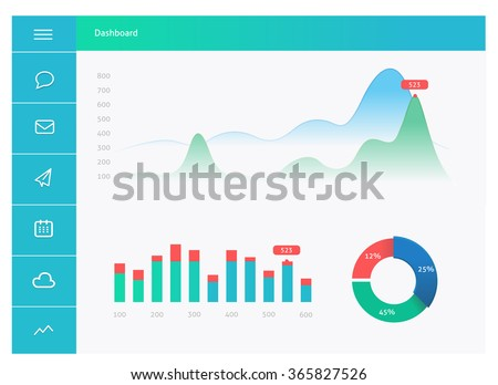Infographic dashboard template with flat design graphs and charts. Dashboard template design - stock vector