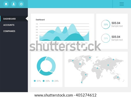 Infographic Dashboard Template Flat Design Graphs Stock Vector ...