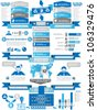INFOGRAPHIC DEMOGRAPHICS BUSINESS BLUE - stock photo