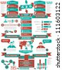 INFOGRAPHIC DEMOGRAPHICS BUSINESS RED - stock photo