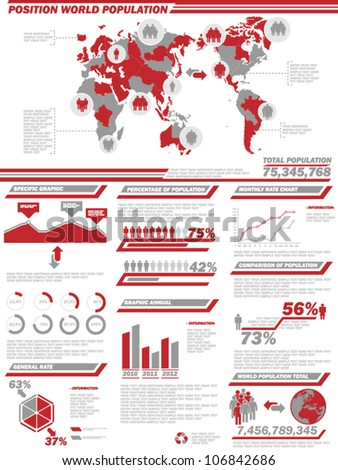 INFOGRAPHIC DEMOGRAPHICS  POPULATION 2 RED - stock vector
