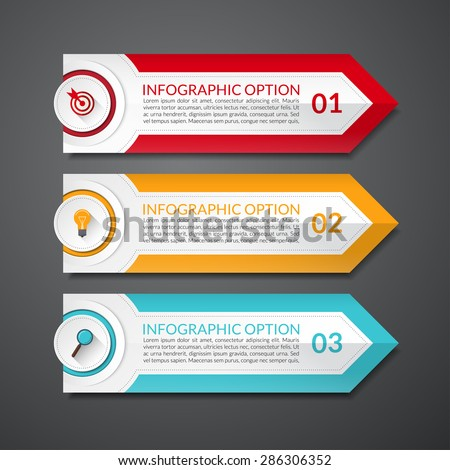 Infographic design arrow number options banner or template. 3 steps. Vector illustration. Can be used for workflow layout, brochure, diagram, chart, number and step up options, web design - stock vector