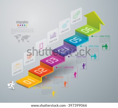 Infographic design template, business infographic and icons, vector infographic. Infographics stock can be used for workflow layout, diagram, number options, web design. Business concept 6 options. - stock vector