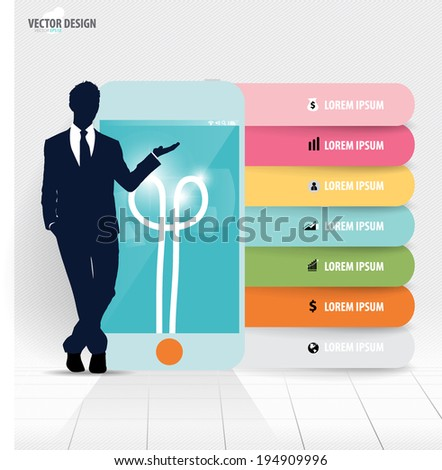 Infographic design template. Businessman showing touchscreen device with colorful infographics paper template, vector illustration. - stock vector