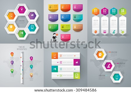 Infographic design template can be used for work flow layout, diagram, number options, web design. Business concept with 3, 4, 6, and 10 options, parts, steps or processes. Abstract background. - stock vector