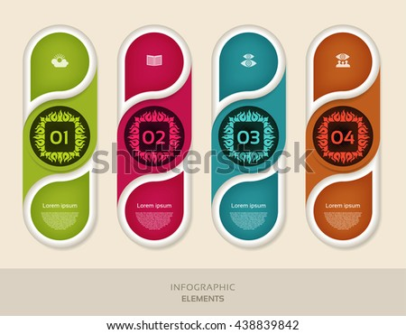 Infographic design template can be used for workflow layout, diagram, number options, web design. Infographic business concept with 4 options, parts, steps or processes. Abstract background. - stock vector