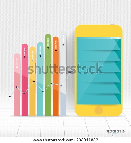 Infographic design template. Touchscreen device with colorful design graph, vector illustration. - stock vector