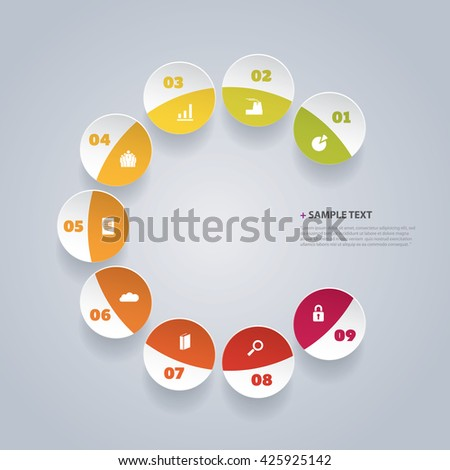 Infographic Design Template With Colorful Patterns - stock vector