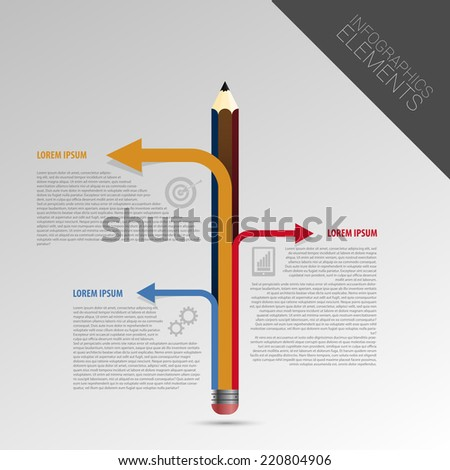 Infographic Template Form Pencil 3 Options Stock Vector