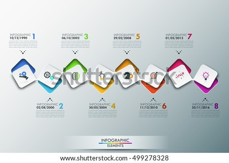 Infographic Design Template Timeline 8 Connected Stock Vector ...
