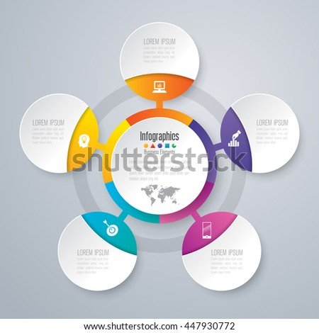Infographic design vector and marketing icons can be used for workflow layout, diagram, annual report, web design. Business concept with 5 options, steps or processes. - stock vector